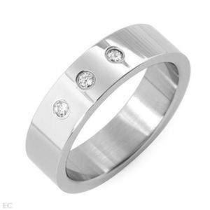 Other - DESIGNER .15CTW CZ STAINLESS MENS BAND RING SZ 12